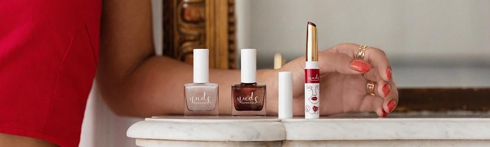 Nude Experience, marque de maquillage pour les ongles et les lèvres. Naturelle, Végane et Ethique. 100% Française